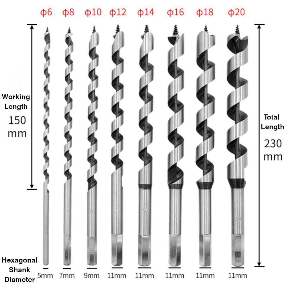 סט 8 מקדחי עץ ספירליים Drillpro 230 mm Auger bits